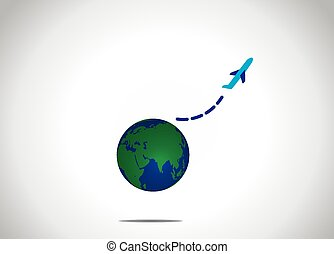 airplane take off flying up from earth global air travel concept illustration. a blue aeroplane silhouette fly upwowards into the bright white sky from the realistic planet earth