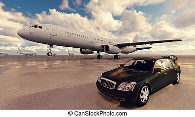 Airplane take-off from airport in a sunny day. 3D Rendering