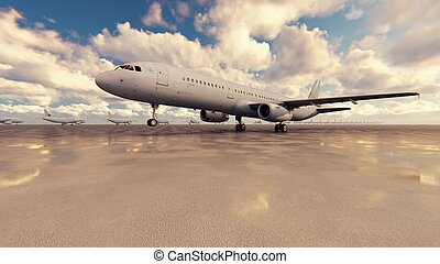 Airplane take-off from airport in a sunrise. 3D Rendering