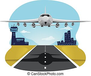 Illustration of an Airplane Taking Off from the Runway