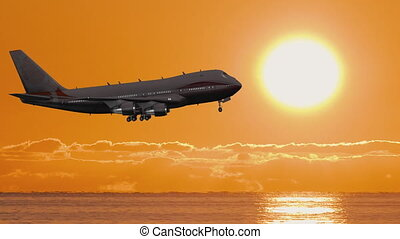 Airplane Take Off Silhouette In Sunset - Large passenger ...