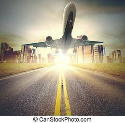 Airplane takeoff - A plane takes off from a runway
