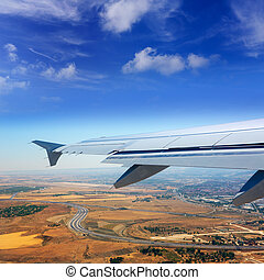 Airplane takeoff from Madrid barajas in Spain