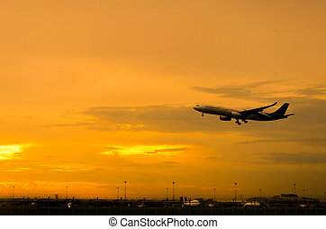 Airplane Takeoff in the evening