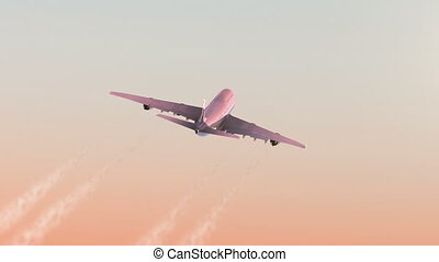 Airplane Takes Off Against Morning Dawn Background. Beautiful 3d Animation. Ultra HD 4K 3840x2160.