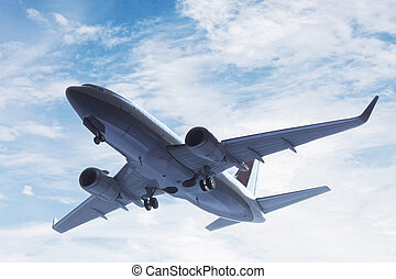 Airplane taking off. A big passenger or cargo aircraft, airline flying. Transportation