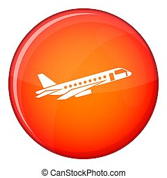 Airplane taking off icon, flat style