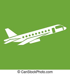 Airplane taking off icon green