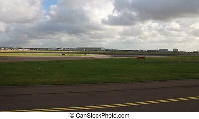 Airplane taking off on runway