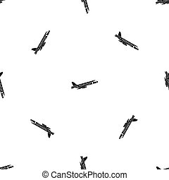 Airplane taking off pattern seamless black