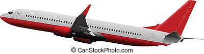 Airplane taking off. Vector illustr