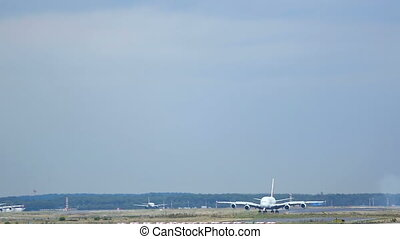 Airplane taxiing after landing - FRANKFURT AM MAIN, GERMANY...