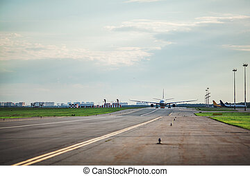Airplane taxing on the runway