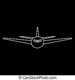Airplane   the white path icon .