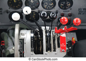 DC3 airplane thrust contol cockpit