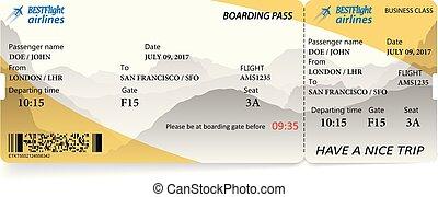 Airplane ticket boarding pass. Vector illustration