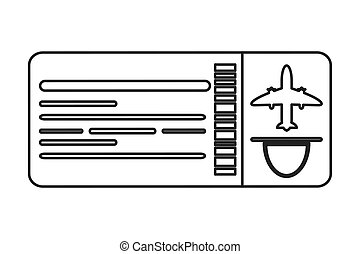 airplane ticket icon line design