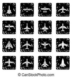 Airplane top view icons set grunge