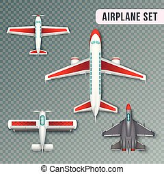 Airplane Top View Set - Airplane passenger propeller and jet...