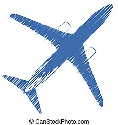 Airplane top view. Vector illustration airplane. Airline Concept Travel Passenger plane. Icon of Jet commercial airplane isolated on a white background.