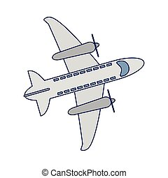 Airplane topview cartoon