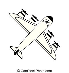 Airplane topview symbol isolated in black and white