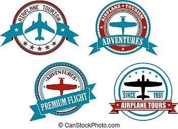 Airplane tours and adventures badges, logos or labels ...