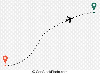 Airplane trace with points of departure and arrival