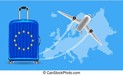 Airplane travel Europe with luggage on world map