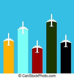 airplane travel in color set illustration