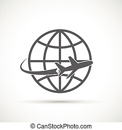 Airplane travel tourism symbol