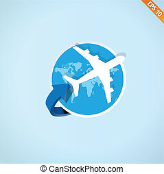 Airplane travel - Vector illustration - EPS10