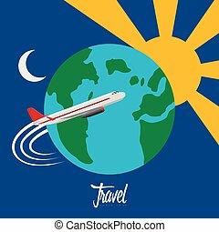 Airplane traveling around the glove