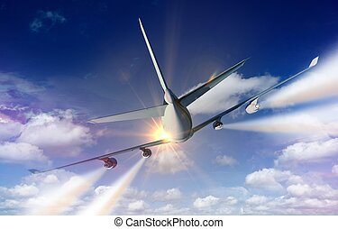 Airplane Traveling Concept Illustration Commercial Airplane...