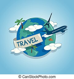 Airplane travelling around the globe, travel concept