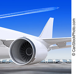 airplane turbine - turbine of passenger plane that waiting...