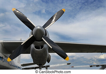 Airplane turboprop engine - Close up of airplane turboprop...