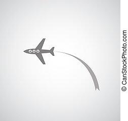 airplane symbol on gray background