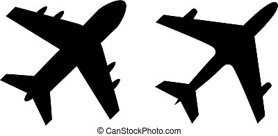 Airplane vector icon - Airplane vector silhouette icons set