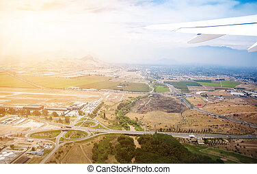 Airplane view of Santiago, Chile - Airplane view of the ...
