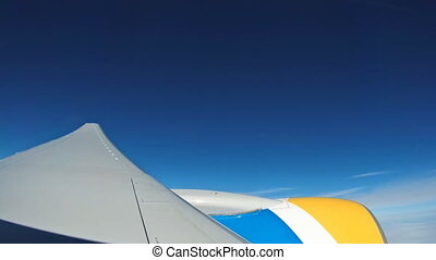 Airplane view window concept. View on window airplane see...
