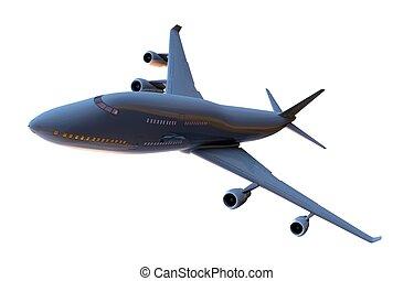 airplane, vit, isolerat