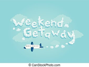 Airplane Weekend Getaway Lettering Illustration