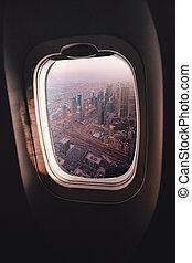 Airplane window Dubai