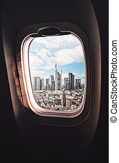Airplane window Frankfurt am Main