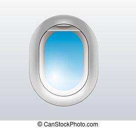 airplane window illustration - vector illustration of a...