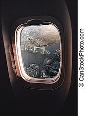Airplane window London