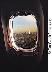 Airplane window New York City