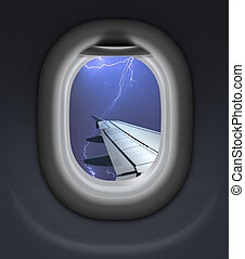 airplane window view in storm with thunderbolt 3d...