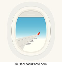 Airplane windows with cloudy blue sky outside.
